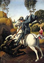 Raphael (Raffaello Sanzio of Urbino): St (Saint) George and the Dragon. Mythological. Fine Art Print/Poster. (29.7cm x 21cm)