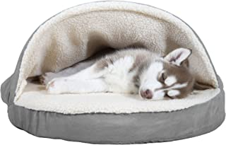 Furhaven Pet Dog Bed | Therapeutic Round Cuddle Nest Snuggery Burrow Blanket Pet Bed w/..