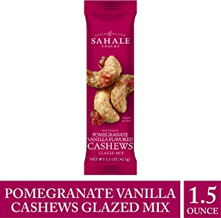 Sahale Snacks Pomegranate Vanilla Flavored Cashews Glazed Mix, 1.5 oz. – Resealable Pouch, Nut Snacks with No Artificial Flavors, Preservatives or Colors, Gluten-Free Snacks