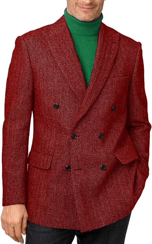 Setwell Mens Tweed Herringbone Blazer Fashion Double Breasted Tuxedo Jacket for Party STJK001