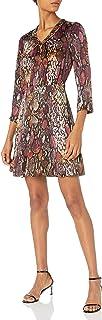 Rebecca Taylor womens Long Sleeve Animal Print Silk Mini Dress Dress