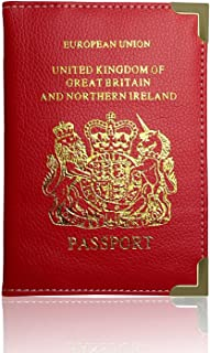 Passport Holder For UK Passport Protector Cover Wallet PU Leather by Lizzy® (Red)