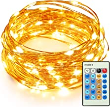 TaoTronics 33ft 100 LED String Lights TT-SL036 Dimmable with Remote Control, Waterproof Christmas Decorative Lights for Be...