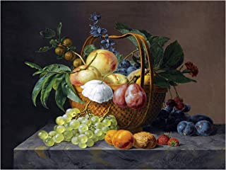 Still Life with Fruit and Flowers in A Basket by Anthony Oberman Accent Tile Mural Kitchen Bathroom Wall Backsplash Behind Stove Range Sink Splashback One Tile 12
