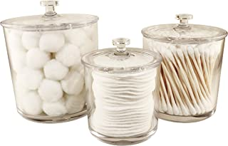 NEATOPOLIS Premium Acrylic Apothecary Jars Set of 3 | Crystal Clear Plastic Storage Canisters with Lids | Bathroom, Kitchen, Laundry, Craft Room, Office, Pet Station, or Medical Station