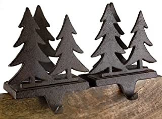 Cast Iron Pine Fir Tree Forest Christmas Stocking Holder Set of 2