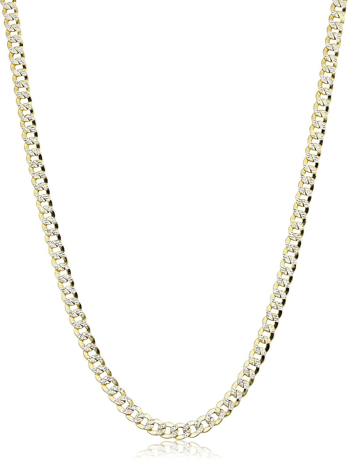 14k Yellow Gold Pave Curb Chain Necklace for Men and Women (4 mm, 20 or 24 inch)