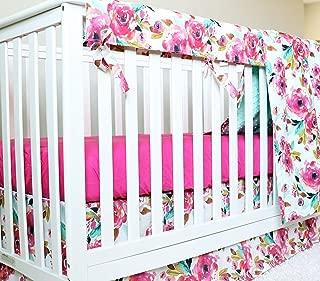 Watercolor Floral 4 Piece Nursery Crib Bedding