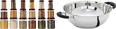 Amazon Brand - Solimo Checkered Jar Set of 18 & Stainless Steel Induction Bottom Kadhai (25cm, 3000ml) Combo