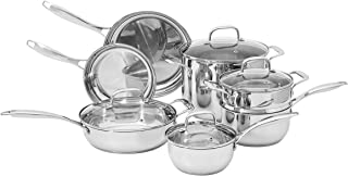 Amazon Basics Stainless Steel 11-Piece Cookware Set - Pots and Pans