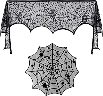 PERFETSELL Halloween Cobweb Fireplace Scarf Cover 20 x 79.9 Inch Black Lace Spider Net Tablecloth Mysterious SpiderWeb Mantle Runner Curtain/Fireplace Decoration for Horror Party Haunted House Window