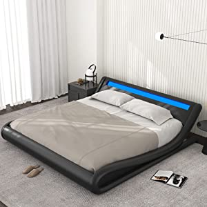 Allewie Wave-Like Curve Deluxe Upholstered Modern Bed Frame with LED Headboard/Mattress Foundation/No Box Spring Needed/Strong Metal Slats Support/Easy Assembly, Black, King