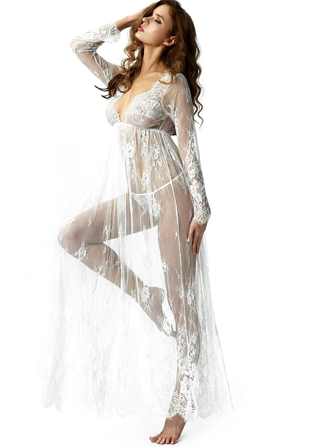 TOUSYEA Maternity Dress Sexy Sheer Long lace Dress See Through Lingerie Dress Nightgown Maxi Beach Dress