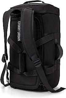 Duffle Bag Rucksack Damen & Herren Schwarz - JOHNNY URBAN Colin Duffel Bag Reisetasche aus Recycelten PET-Flaschen - Hochwertige & Funktionale Sporttasche mit Rucksackfunktion, Wasserabweisend