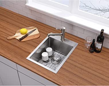 VALISY 15 x 20 Inch SUS304 Stainless Steel Square Topmount Drop-In Small Kitchen Bar Sink,Single Basin Sink for Wet Bar Prep