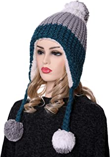 YEBING Womens Girls Super Thick Warm Soft Cable Earflap Beanie Hat Fleece Lined with Pom Pom and Braids