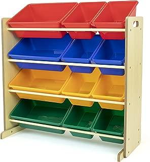 toy storage shelves with bins