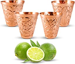 Pure Copper Shot Glass Collection Set of 4 (2 oz) - Custom Embossed Barware for Moscow Mules, Cocktails & Shooters - Kamojo Gift Set of 4