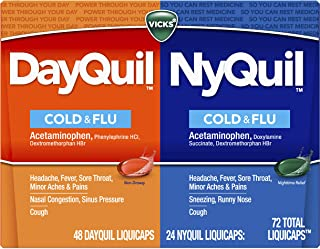 Vicks Dayquil and Nyquil Cough, Cold and Flu Relief, 72 LiquiCaps (48 Dayquil, 24 Nyquil) - Sore Throat, Fever, and Conges...
