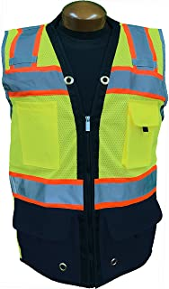 SHINE BRIGHT SV544NV | Premium Surveyor's High Visibility Safety Vest | 2 Tone Lime/Navy Blue with Reflective Strips |ANSI CLASS 2 |Soft and Breathable |Heavy Duty Zipper Front | Size Large