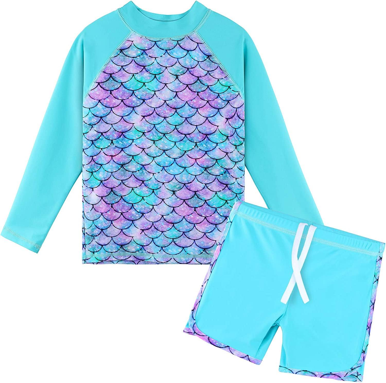 TFJH E Girls Long Sleeve Swimsuits 50 Sunsuits UV 1 year Manufacturer regenerated product warranty Rashguard Sets