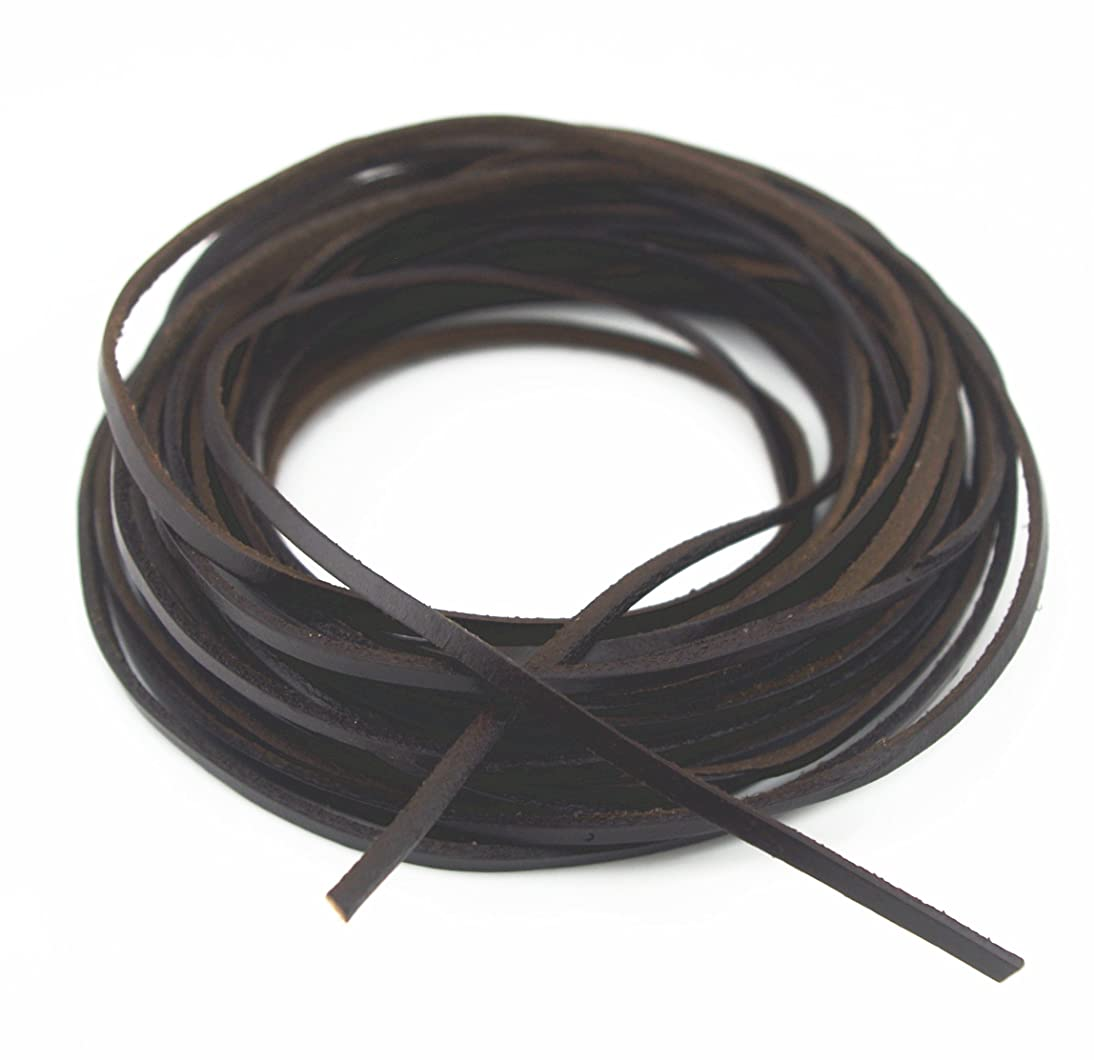 Glory Qin 3x2 mm Genuine Cow Hide Flat Leather Srip,Genuine Leather Cord Real Leather Craft for Jewelry Making LeatherRush (Dark Brown, 10 Yards)