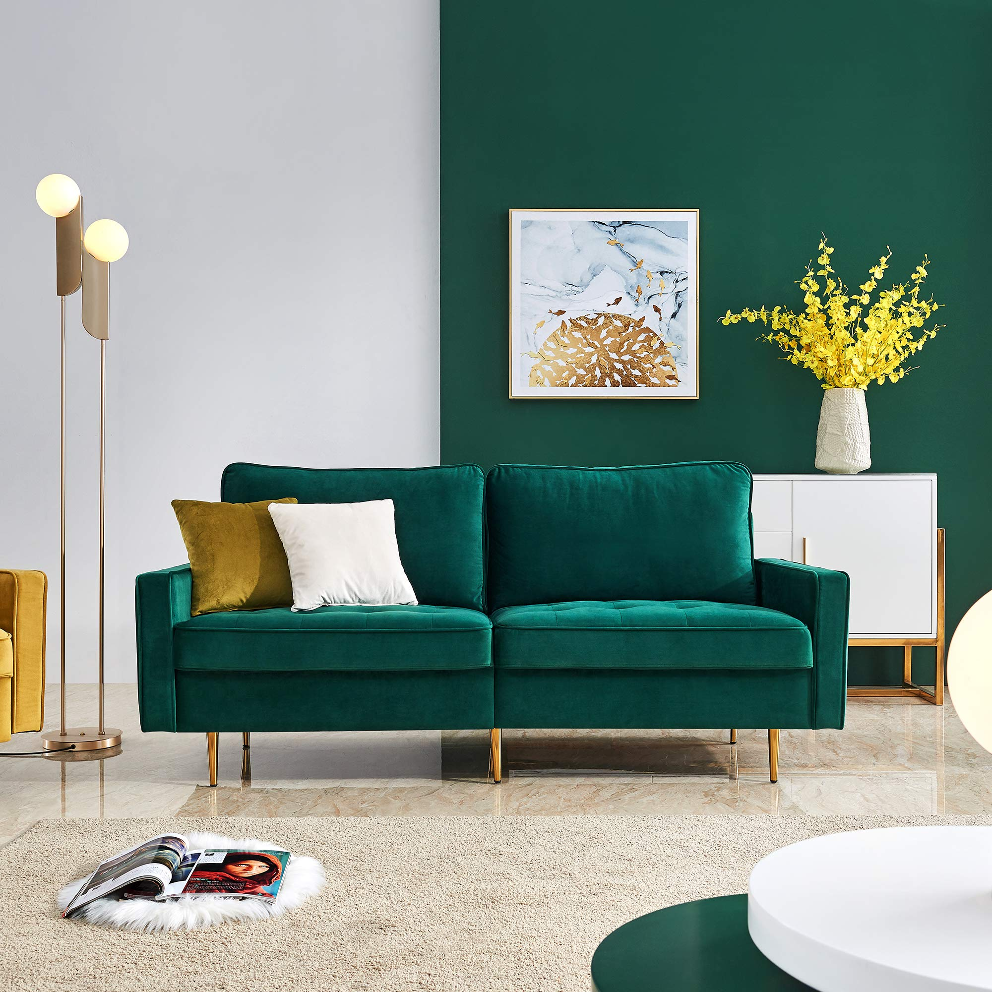 Amazon Com Emerald Green Velvet Fabric Sofa Couch Julyfox 71 Inch Wide Mid Century Modern Living Room Couch 700lb Heavy Duty With 2 Throw Pillows Kitchen Dining