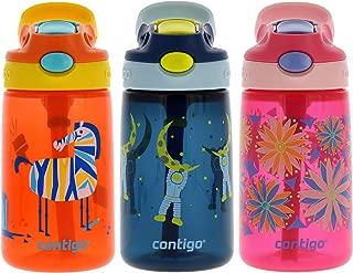 Contigo AUTOSPOUT Kids, 3 Pack – Straw Gizmo Flip, 14oz – Leak and Spill Proof Bottles, Ideal...