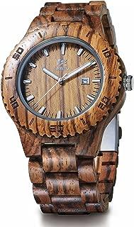 EV1969 Mens Wood Watch for Men Handcrafted Zebra Sandal Wood Vintage Wooden Watches Mens Gifts