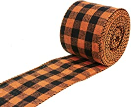 ATRBB Orange and Black Buffalo Plaid Ribbon Wired Edge Gingham Ribbon for Halloween Decoration and Bows Craft,10 Yards by ...