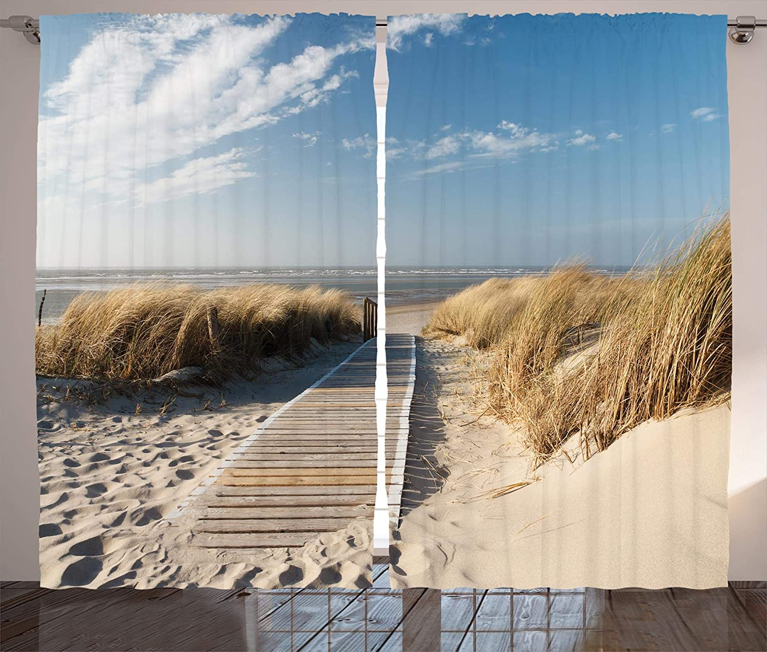 Ambesonne Seaside Decor Collection, Footpath Sunny Day Windy Weather European Beach Grass Germany Landscape Image Print, Living Room Bedroom Curtain 2 Panels Set, 108 X 90 Inches, bluee Ivory