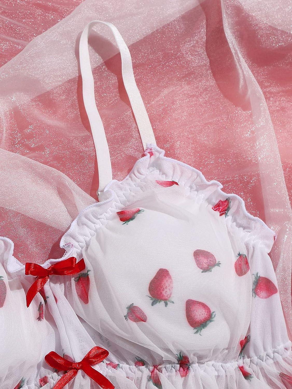 Romwe Women's Plus Size Strawberry Print Lace Bralette Ruffle Trim Bow Cami Crop Top Bra