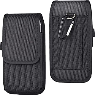 Vertical/Horizontal Belt Loop Holster Case Pouch Phone Holder with Carabiner Clip for LG V50 V40 ThinQ V20 Stylo 5/4 / 3, Redmi Note 7 Note 6 Pro Mi A2 Mi 9, OnePlus 7 Pro / 6T, Huawei Y7 Honor 8X
