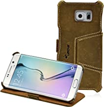 MANNA   Funda de Piel Genuina para Samsung Galaxy S6 EDGE   Función EasyStand   Cuero Nobuk   Color Marrón   LEICKE