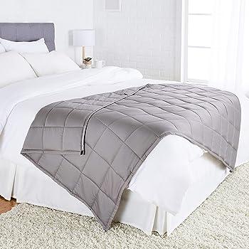 AmazonBasics - Manta de algodón con peso, para todas las estaciones, 5,4kg, 120cm x 180cm (individual), gris oscuro
