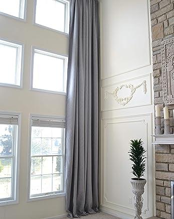 399ac95ec4 Ikiriska Blackout Faux Solid Linen Curtain Extra Long Custom Made