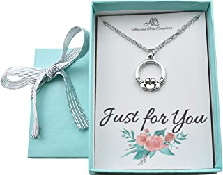 Little Girls Claddagh Charm Pendant Necklace in silver plated pewter on a 14 stainless steel chain. Irish jewelry. Irish baby.