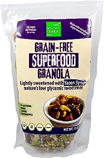 Grain Free Superfood Granola Sweetened with Yacon Syrup (Almonds, Cashews, Hazelnuts, Pumpkin Seeds, Sunflower Seeds) - 6g Protein 2g Sugar Low GI Low Carb - Gluten Free, Non GMO, Paleo, Vegan