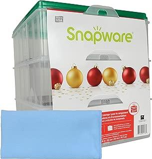 Snapware (1) Snap 'N Stack 3-Layer Ornament Keeper w/ (1) Blue Microfiber Low-lint Polishing Cloth