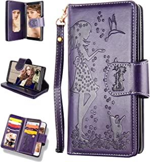 Samsung Galaxy Note 10 Plus Case 5G,Galaxy Note 10+ Wallet Case,FLYEE 9 Card Slots High Capacity Leather Magnetic Protective Cover with Mirror & Wrist Strap for Galaxy Note 10 Plus 6.8 inch-Purple