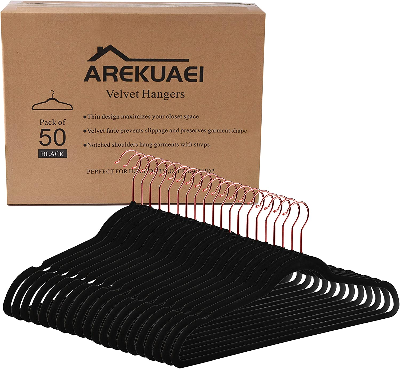 AREKUAEI Premium Cheap super special price Black Velvet Hangers Washington Mall Pack of N 50 Heavyduty -