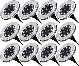 Sunco Lighting 12 Pack Solar Path Lights, Dusk-to-Dawn, 6000K, Cross Spike Stake for Easy in Ground Install, Solar Powered LED Landscape Lighting - RoHS/CE