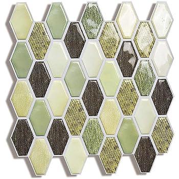 SHSYCER Peel Stick Wall Tile,3D Self-Adhesive Backsplash Kitchen Teal Arabesque Decorative Wall Sticker 10x10 inches,10 Sheets Kai Rong