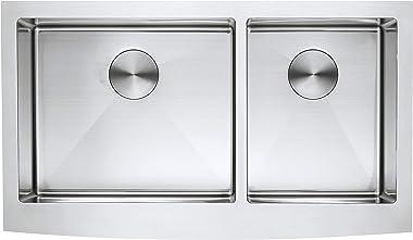zuhne Turín 36Farmhouse delantal 60/40de profundidad doble tazón de acero inoxidable fregadero de cocina de lujo, 16Calibr