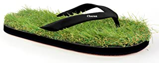 CHARAN COLLECTIONS Black Steps Grass Flip Flops, House Slippers, House Chappals, Yoga Slippers, Beach Slippers for Men and Women