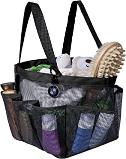 Attmu Portable Shower Caddy with 8 Mesh Storage Pockets, Quick Dry Shower Tote Bag Oxford Hanging Toiletry and Bath Organizer for Shampoo, Conditioner, Soap and Other Bathroom Accessories, Black