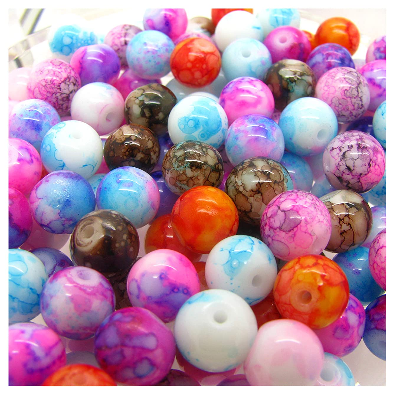 Qitian 100pcs 8mm Mix Color Glass Loose Beads in Bulk