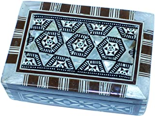 Holy Land Market Decorative Box - Wooden Inlaid with Mother of Pearls Decorations - Rectangular (4.8 x 3.1 x 1.8 Inches)