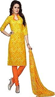 Minu salwar Cotton Printed Suit sets Light Yellow(Elegance_2008)