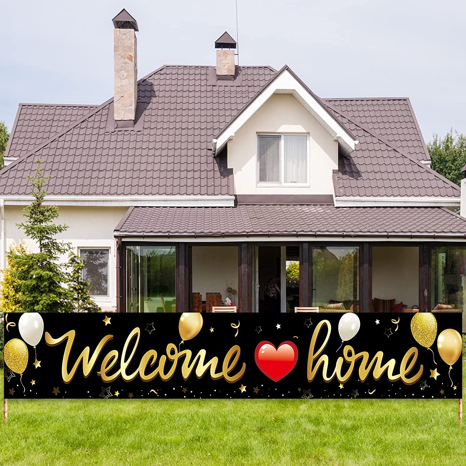 Welcome Home Banner Decoration, Black Gold Welcome Back Home Yard Sign for Outdoor Decor, Military Homecoming Deployment Returning Party Supplies